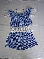 Подростковый костюм с шортами для девочки от 9 до 13 лет в клеточку,синего цвета