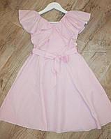 Подростковое платьедля девочки 10-14 лет с воланами и поясом в полоску,розового цвета, фото 1