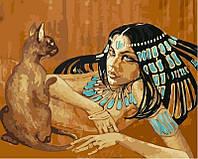 Картина раскраска по номерам недорого Египтянка с кошкой худ Фаттах Галла (VP424) 40 х 50 см
