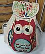 """Спортивный текстильный женский рюкзак """"Совушка"""" из плотного материала, на завязках, на 1 отдел, фото 2"""