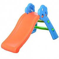 Горка детская пластиковая Bambi YTE00197, оранжево-синяя
