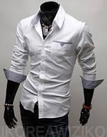 Стильная сорочка мужская L, Белый