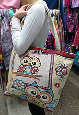 """Пляжная, текстильная сумка """"Совушка с орнаментом"""", прогулочная, с подкладом, один отдел, длинные ручки, фото 3"""