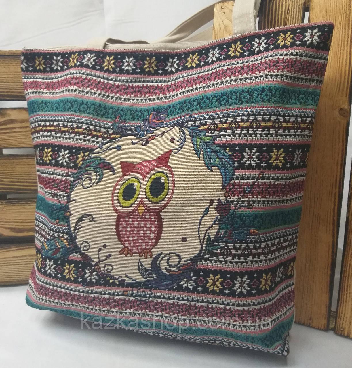 """Пляжная, текстильная сумка """"Совушка с орнаментом"""", прогулочная, с подкладом, один отдел, длинные ручки"""