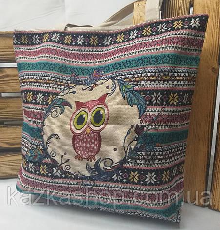 """Пляжная, текстильная сумка """"Совушка с орнаментом"""", прогулочная, с подкладом, один отдел, длинные ручки, фото 2"""