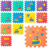 Коврик Мозаика M 5732 (10шт) цифры/день рожд12д(31,5_31,5_1см),6текстур,пазл,,массаж,куль,32_32_12см