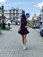 Стильное летнее платье в горох короткое с пышной юбкой