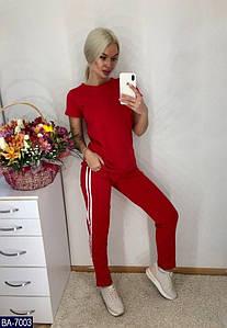 Женский классный летний спортивный костюм,футболка+штаны с карманами (двунитка) 3 цвета