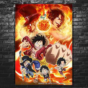 """Постер """"One Piece. Большой куш. Главные герои"""", аниме, манга. Размер 60x43см (A2). Глянцевая бумага"""
