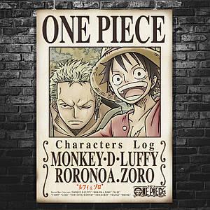 """Плакат """"One Piece, Большой куш, листовка"""", аниме, манга. Размер 60x43см (A2). Глянцевая бумага"""