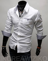 Стильная сорочка мужская S / 37-38 Белый