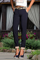 Классические прямые брюки с манжетом 1820 (42–50р) т.синий