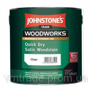 Антисептик для дерева, прозрачный, полуматовый, Джонстоун (Johnstones Quick Dry Satin Woodstain) 2,5 л