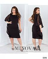 Нарядное черное платье большого размера №1676, размер 48,50,54