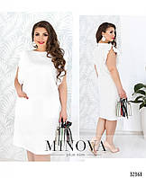 Нарядное летнее льняное белое платье большого размера №1844-1, размер 48,50