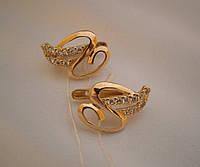 Серьги золотые с цирконием женские