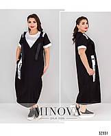 Модное летнее черное платье в стиле casual большого размера №103, размер 54,56,58,60,62