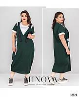 Модное летнее зеленое платье в стиле casual большого размера №103, размер 54,56,58,60,62