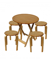 Комплект раскладной стол и четыре табуретки