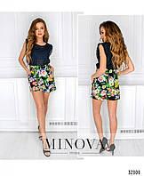 Стильные летние шорты, украшенные цветочным принтом №2034.13-чёрный, размер 44,46,48
