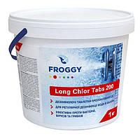 Froggy Long Chlor Tabs 200 1 кг. Длительный хлор в таблетках для дезинфекции воды в бассейнах ., фото 1