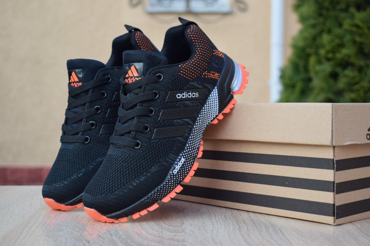 Женские кроссовки Adidas Marathon из текстиля удобные адидасы для бега и тренировок (черные), ТОП-реплика