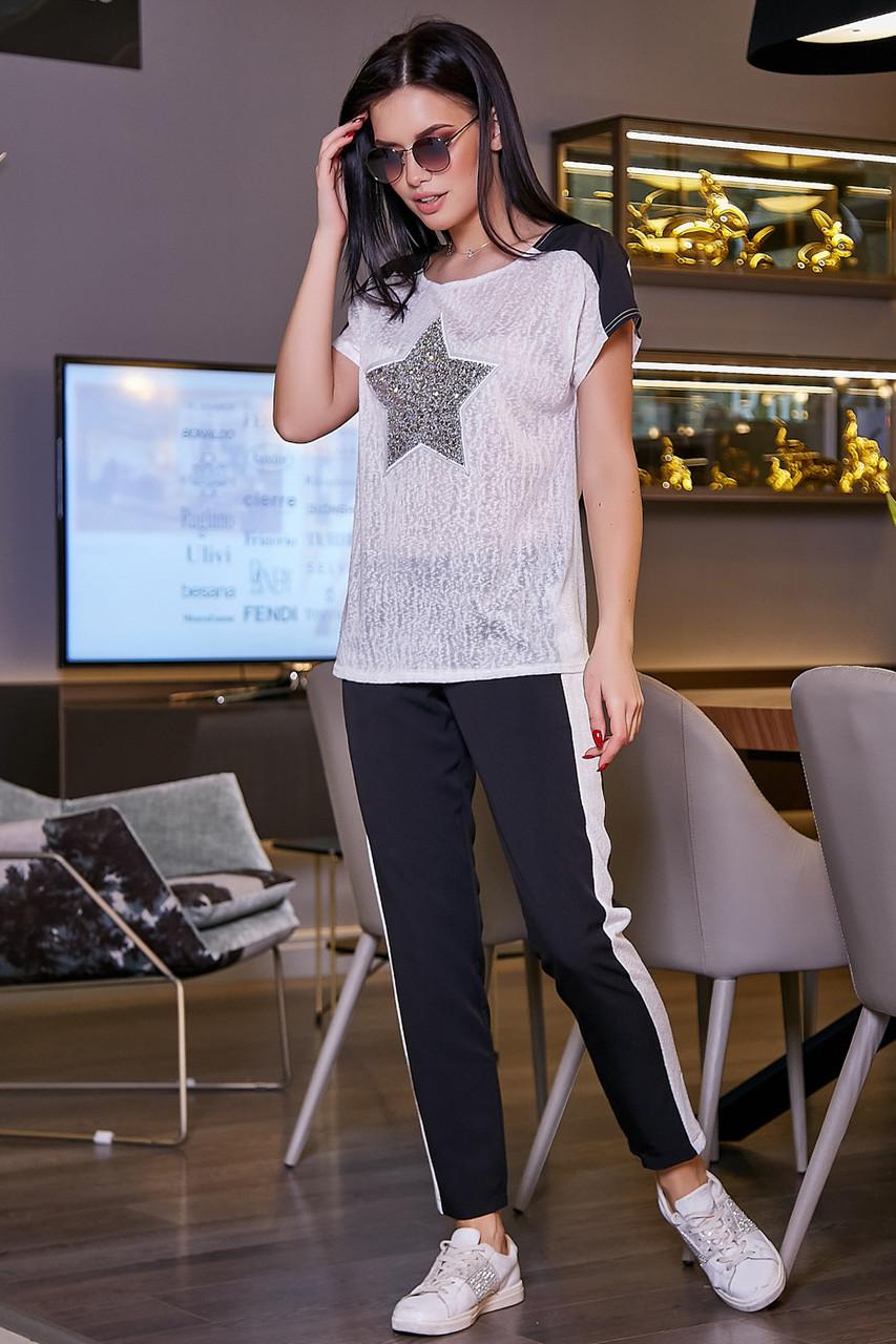 Стильные женские брюки с лампасами из костюмки 3437 (42–50р) в расцветках