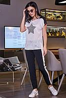 Стильные женские брюки с лампасами из костюмки 3437 (42–50р) в расцветках, фото 1