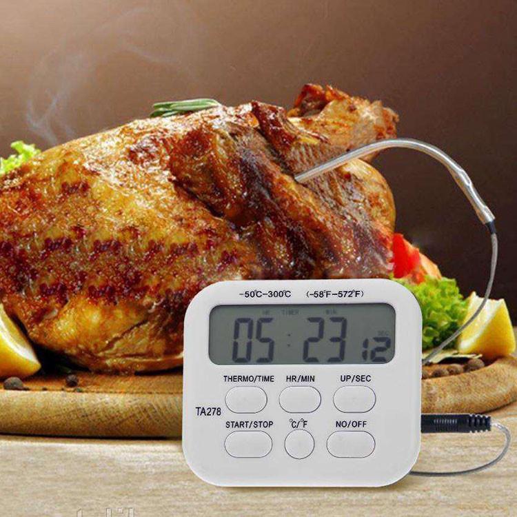 Цифровой термометр ТА278 для духовки (печи) с выносным датчиком до 300°С термометр с таймером