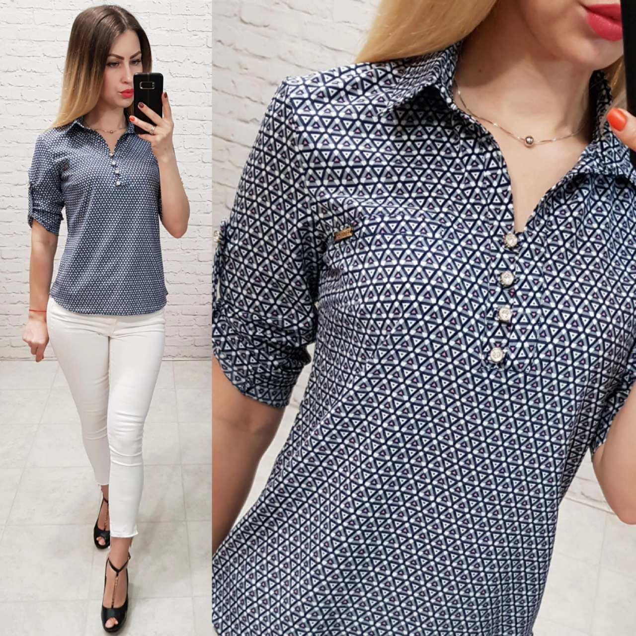 Блузка/блуза - рубашка с пуговками на груди, модель 828 , принт геометрия