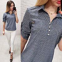 Блузка/блуза - рубашка с пуговками на груди, модель 828 , принт геометрия, фото 1