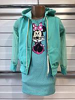 Детский комплект платье и кофта сетка рукав для девочки 3-6 лет цвет бирюзовый