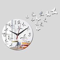 3-D часы настенные бабочки №2 серебряные зеркальные