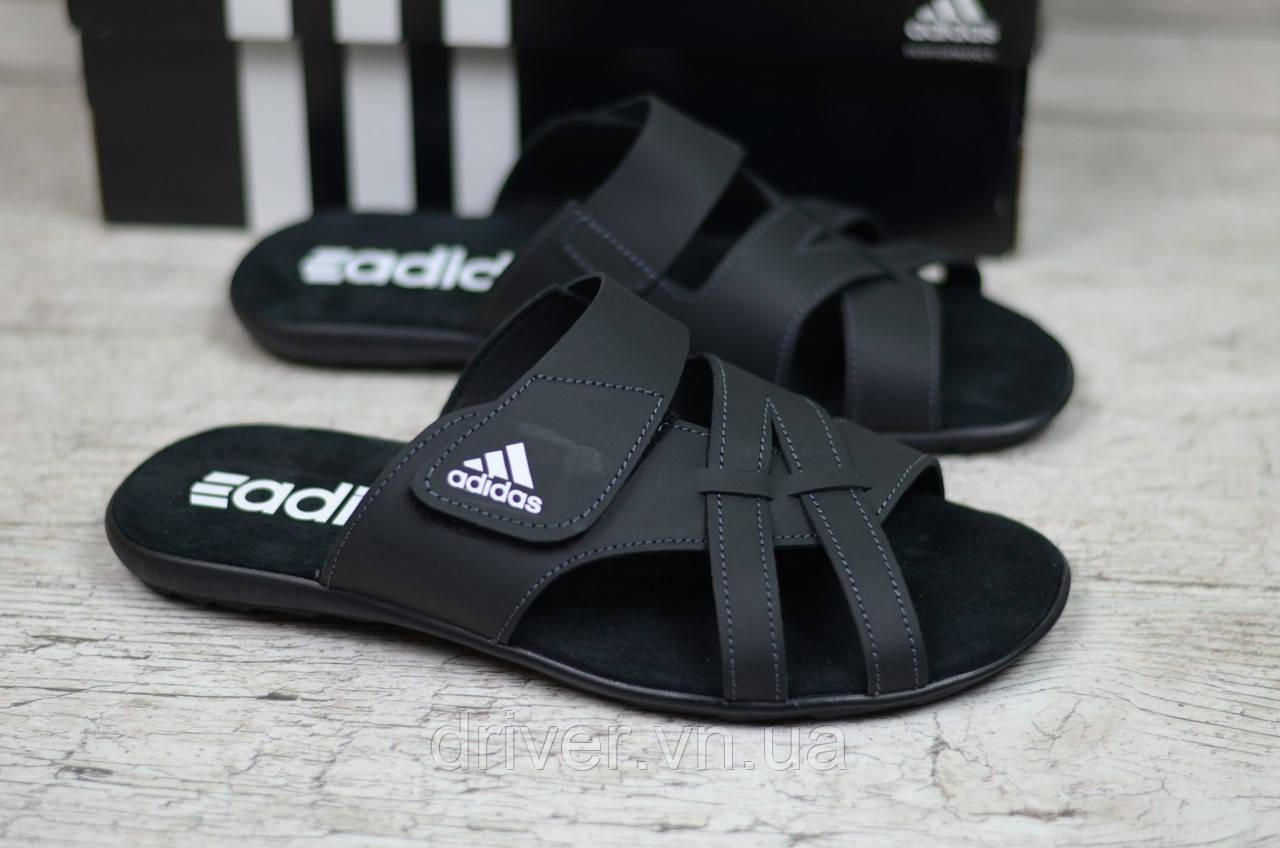 b62d2d8ef846ed Шльопанці чоловічі Adidas, шкіра. Чорні. 40-45р (26.3-30см), цена ...