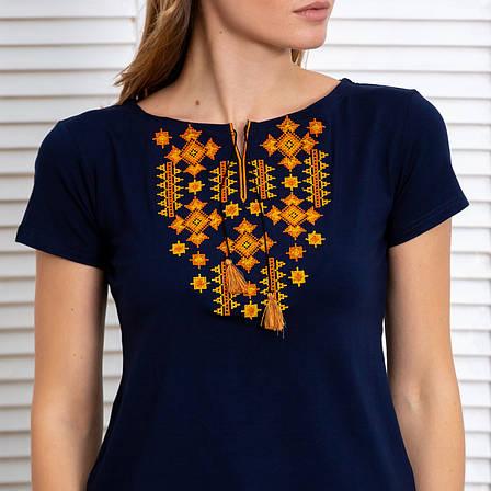 Вышитая футболка в Украинском стиле синего цвета Зори, фото 2