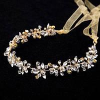 Свадебный венок - Хрустальный орнамент (Золотой с белым камнем)