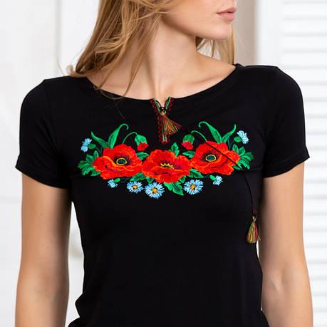 Футболка вышиванка женская цветы гладью, фото 2