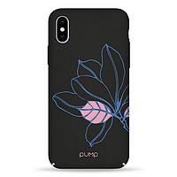 Накладка для iPhone X/iPhone XS пластик Pump Tender Touch Case Black Flower