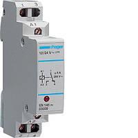 Реле интерфейсное с индикатором, 1 переключаемый контакт, 12-24В, 1м Hager (EN145)