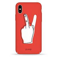 Накладка для iPhone X/iPhone XS пластик Pump Tender Touch Case V Middle Finger