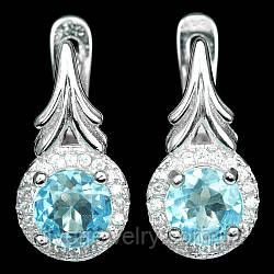 Серебряные серьги с голубым ТОПАЗОМ (натуральный), серебро 925 пр.