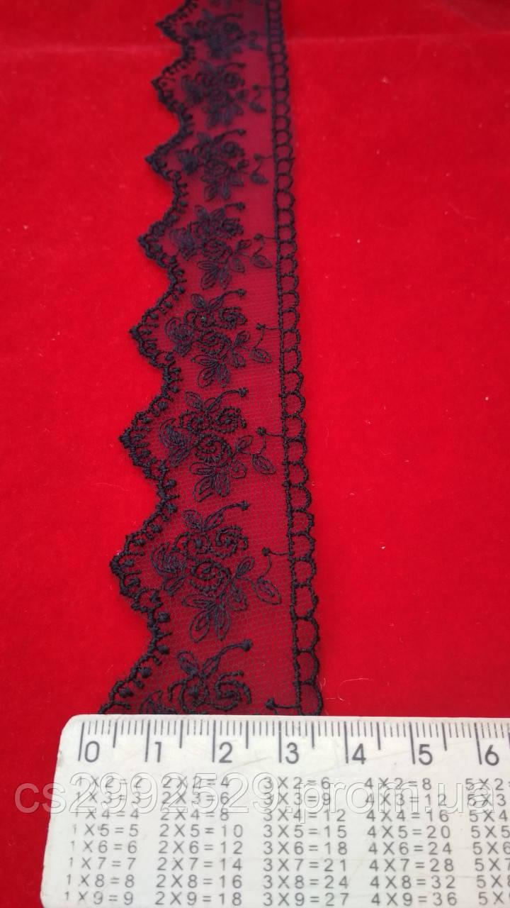 Кружево бант вышитое в намотке 9 метров.Кружево. Бант сетка вышитая декоративная. Цвет синий тёмный