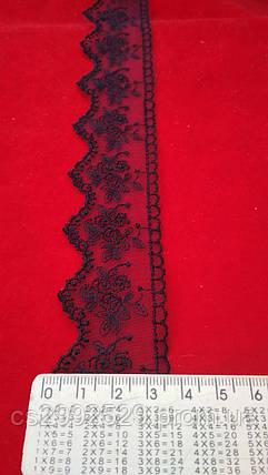Кружево бант вышитое в намотке 9 метров.Кружево. Бант сетка вышитая декоративная. Цвет синий тёмный, фото 2