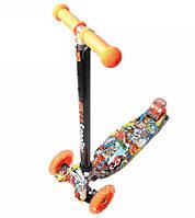 Детский самокат Maxi Best со светящимися мягкими колёсами и принтом Sponge Bob  ( Губка Боб )