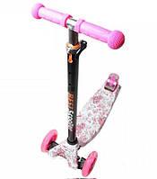 Детский самокат Maxi Best со светящимися мягкими колёсами и принтом Pink Flowers ( Розовые цветы )