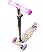 Детский самокат Maxi Best со светящимися мягкими колёсами и принтом Purple Flowers ( Фиолетовые цветы )