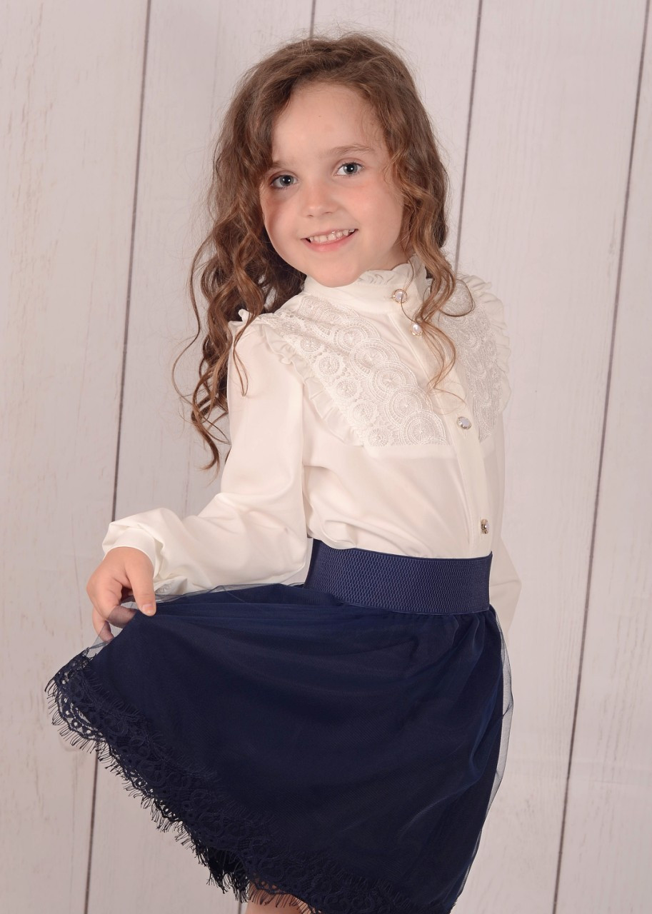 Детская юбка в школу р. 128-152 тёмно-синяя