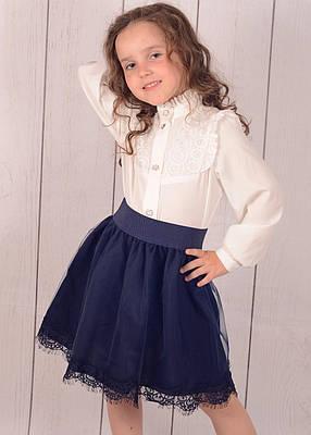 Детская юбка в школу р. 128-152 тёмно-синяя , фото 2