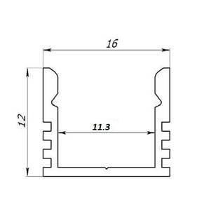 Лэд профиль светодиодный ЛП12, анод. Длина планки 1мп, фото 3
