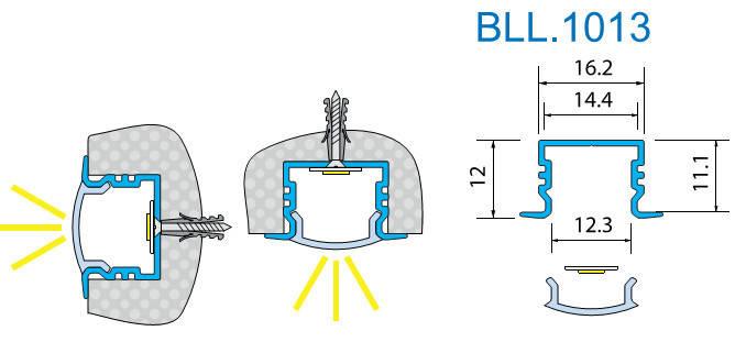 Светодиодный профиль врезной. BLL-1013 анод. L-2метра, фото 2